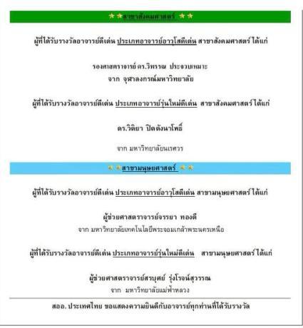 ดร.วิติยา ปิดตังนาโพธิ์ ได้รับรางวัลอาจารย์ดีเด่น สออ.ประเทศไทย ปี2556  (ASAIHL-Thailand award)